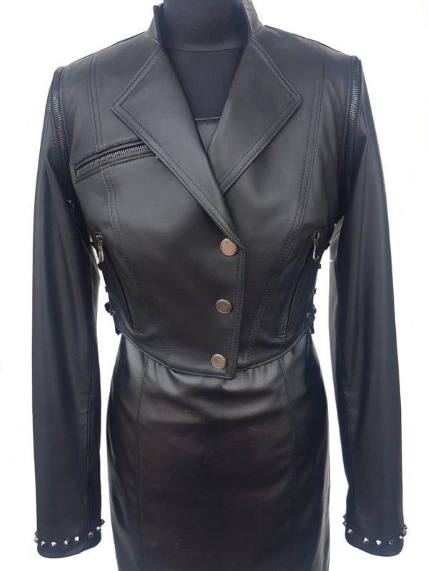 bolerko sznurowane cwieki ramoneska skorzana damska kurtka jesien odziez skorzana leather leder ramones jacket fuhr panther4u dudziak chelmek (1)
