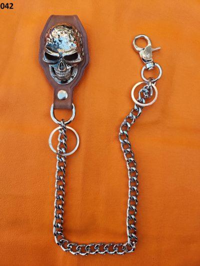 łańcuch rock metal czaszka bojówka brązowa