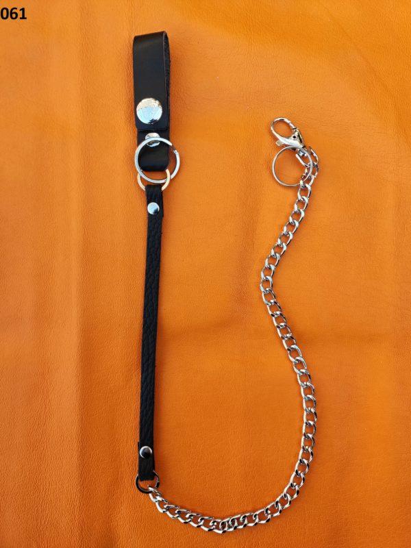 łańcuch do spodni ze skórzaną czarna szlufką