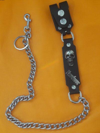 Łańcuch do spodni czarny z czaszką Hardcore