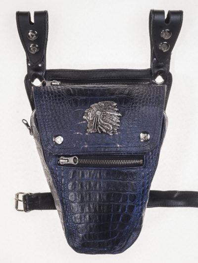 skórzana torba saszetka na pas noge udo motocyklowa czarna Indianin (2)