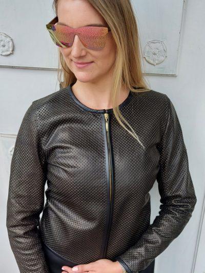 skórzana czarno - złota kurtka damska chanelka