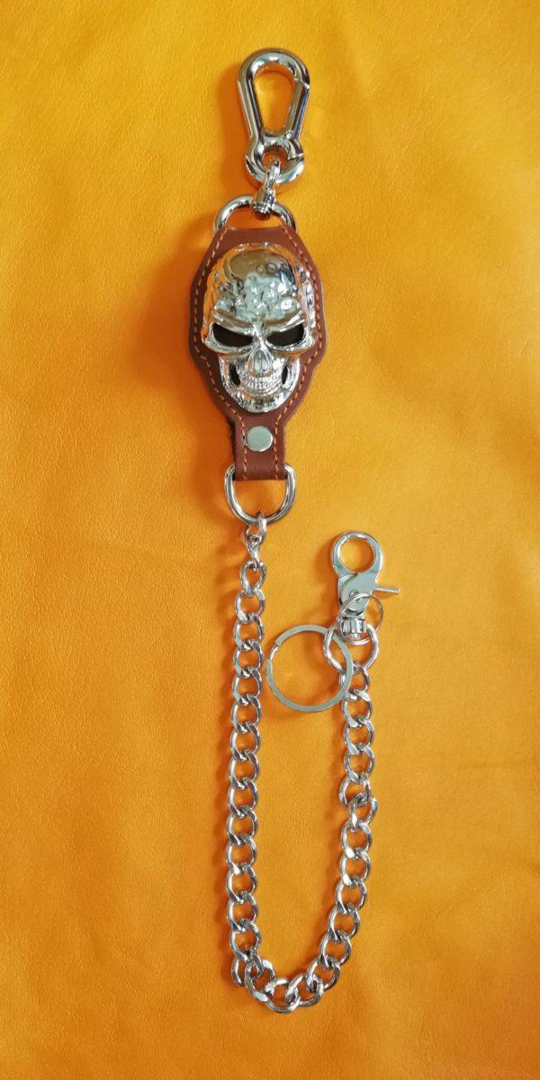 Łańcuch brelok z czaszką do spodni brązowy