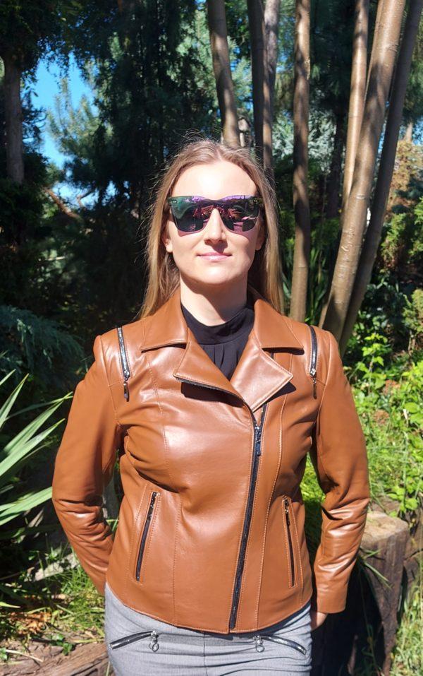 brązowa damska kurtka skórzana szyta na miarę ramoneska (3)
