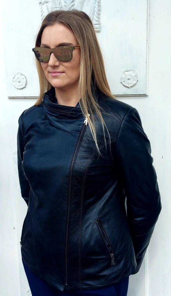 skórzana asymetryczna kurtka damska czarna jesien wiosna ramoneska szyta na miarę Chełmek